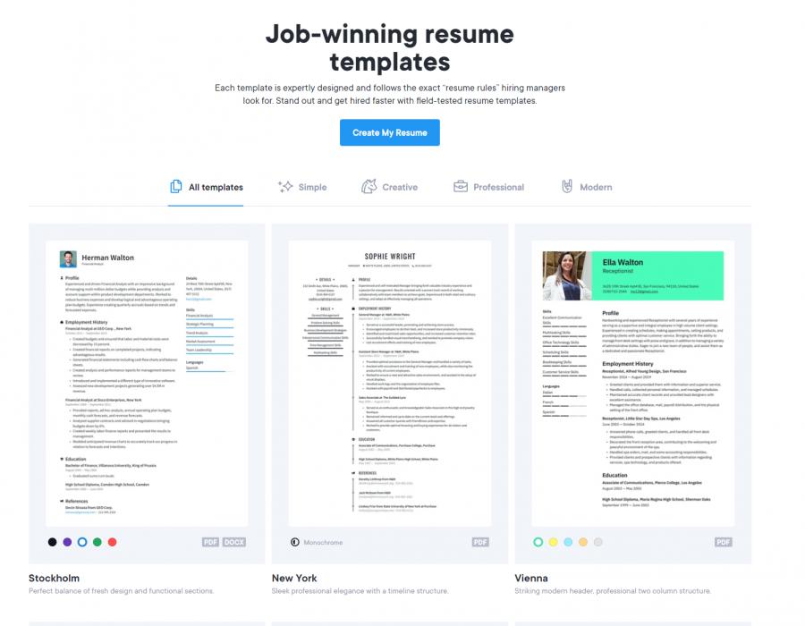 resume builders online